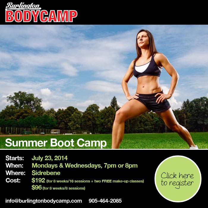 Register online for Burlington Body Camp starting July 23, 2014.