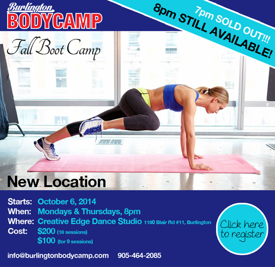 Nine-week Burlington Body Camp Session begins tonight!