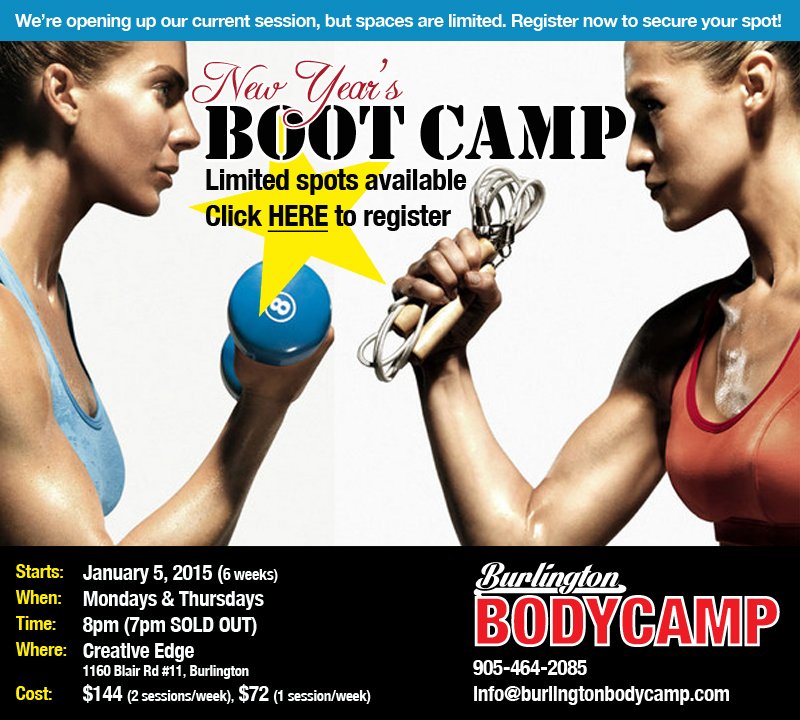 Spaces still available! Burlington Boot Camp starts January 5, 2015