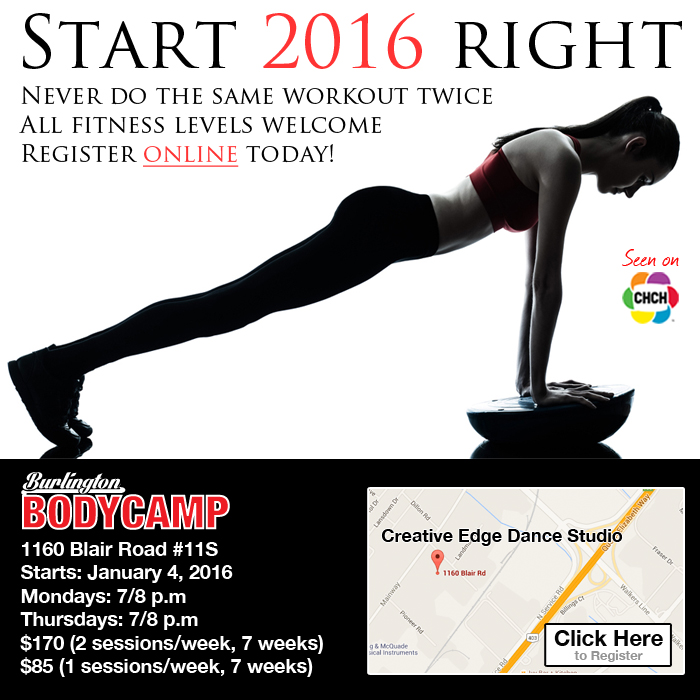 Burlington Body Camp starts January 2016. Register online!