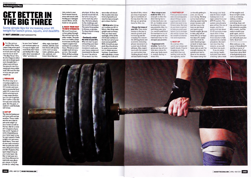 Matt Johnson Inside Fitness magazine article April May 2017