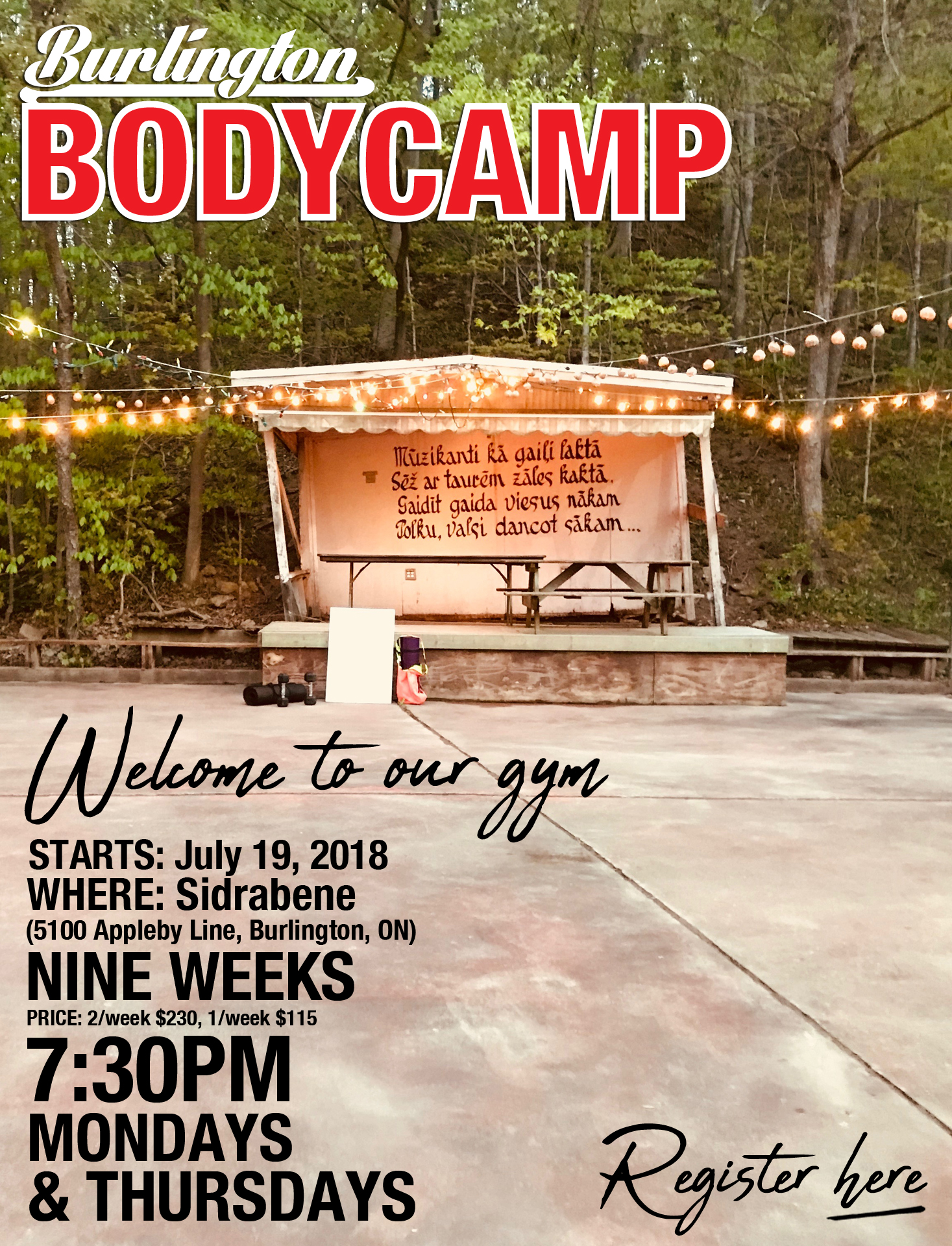 Next Burlington Body Camp Starts July 19th, 2018